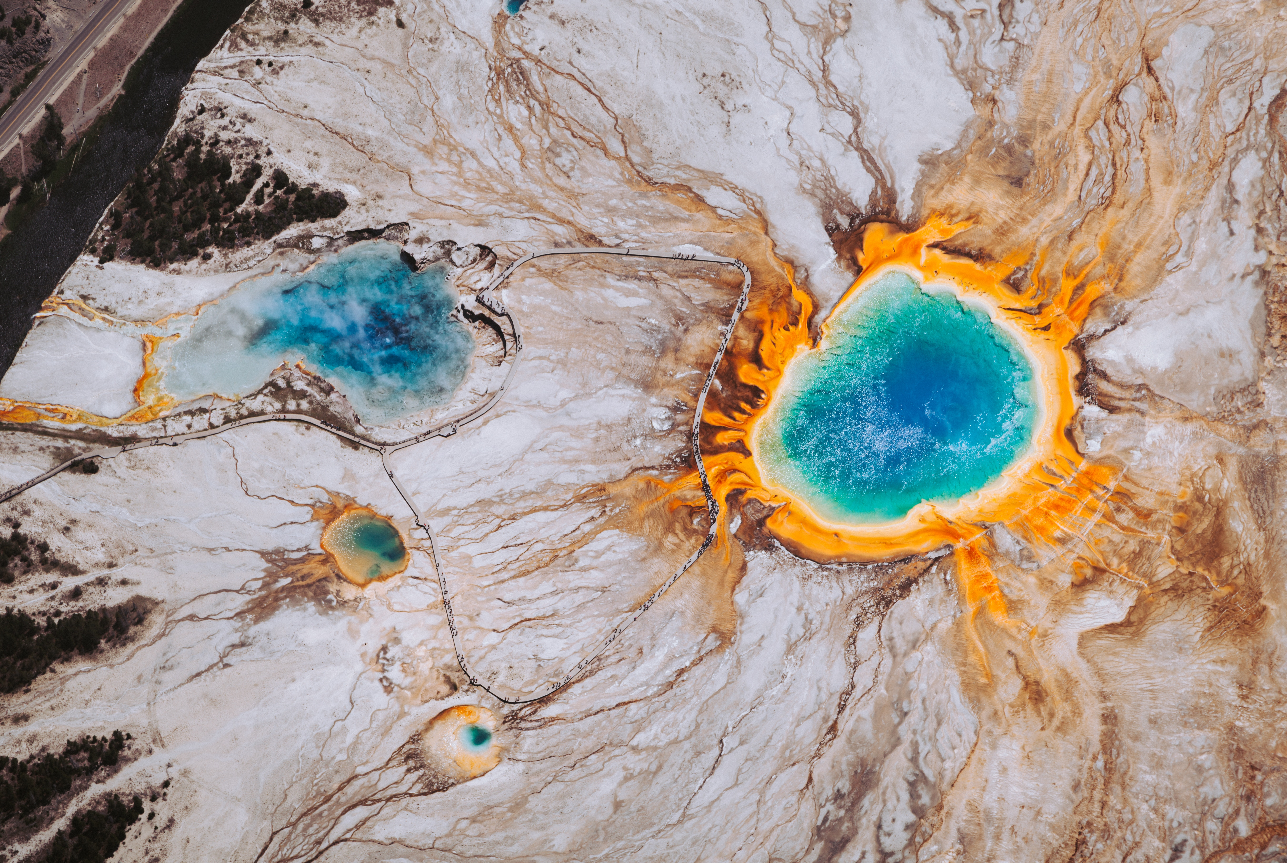 The most insanely beautiful aerial shot of Grand Prismatic Spring in Yellowstone National Park.