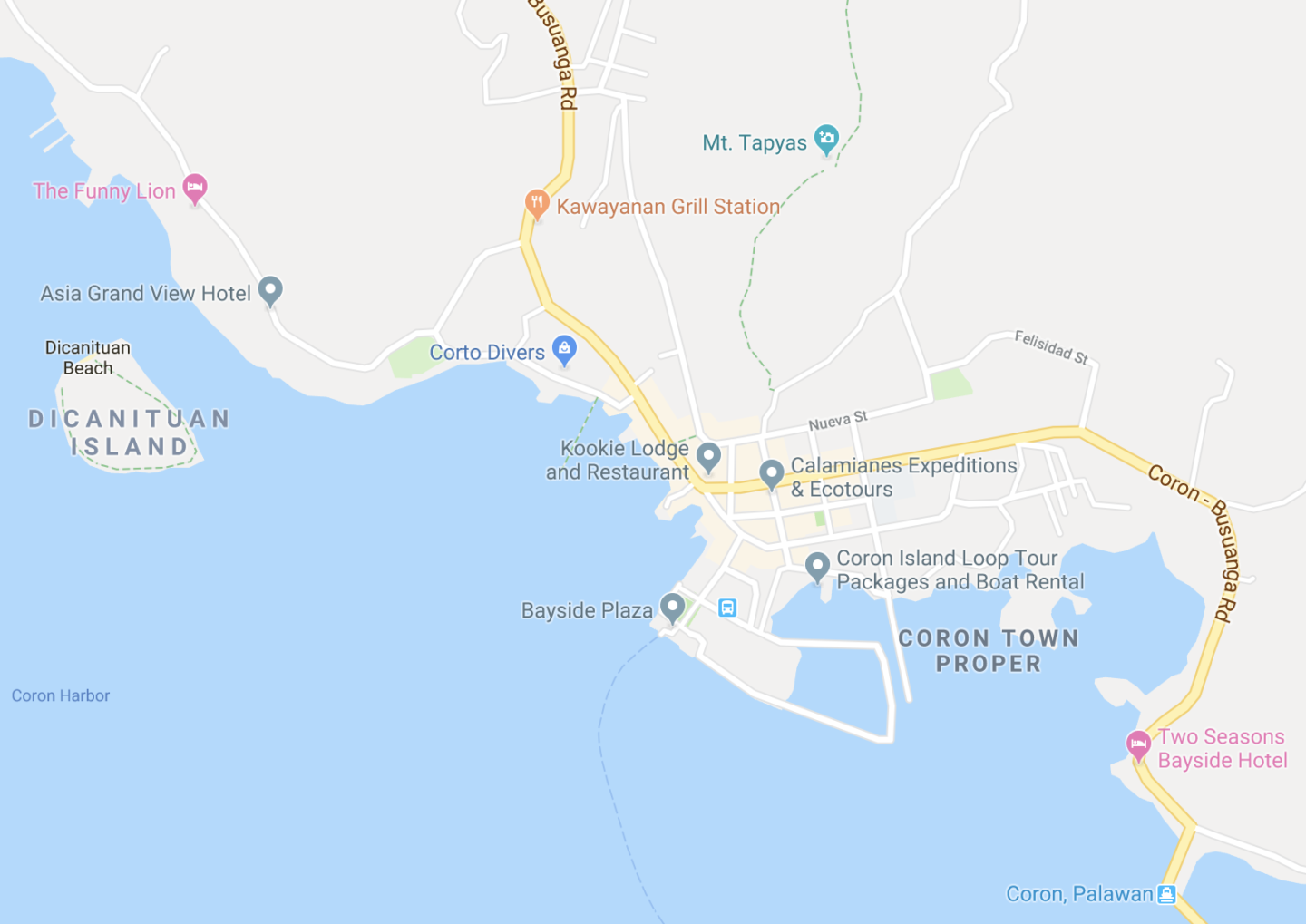 map of coron town proper