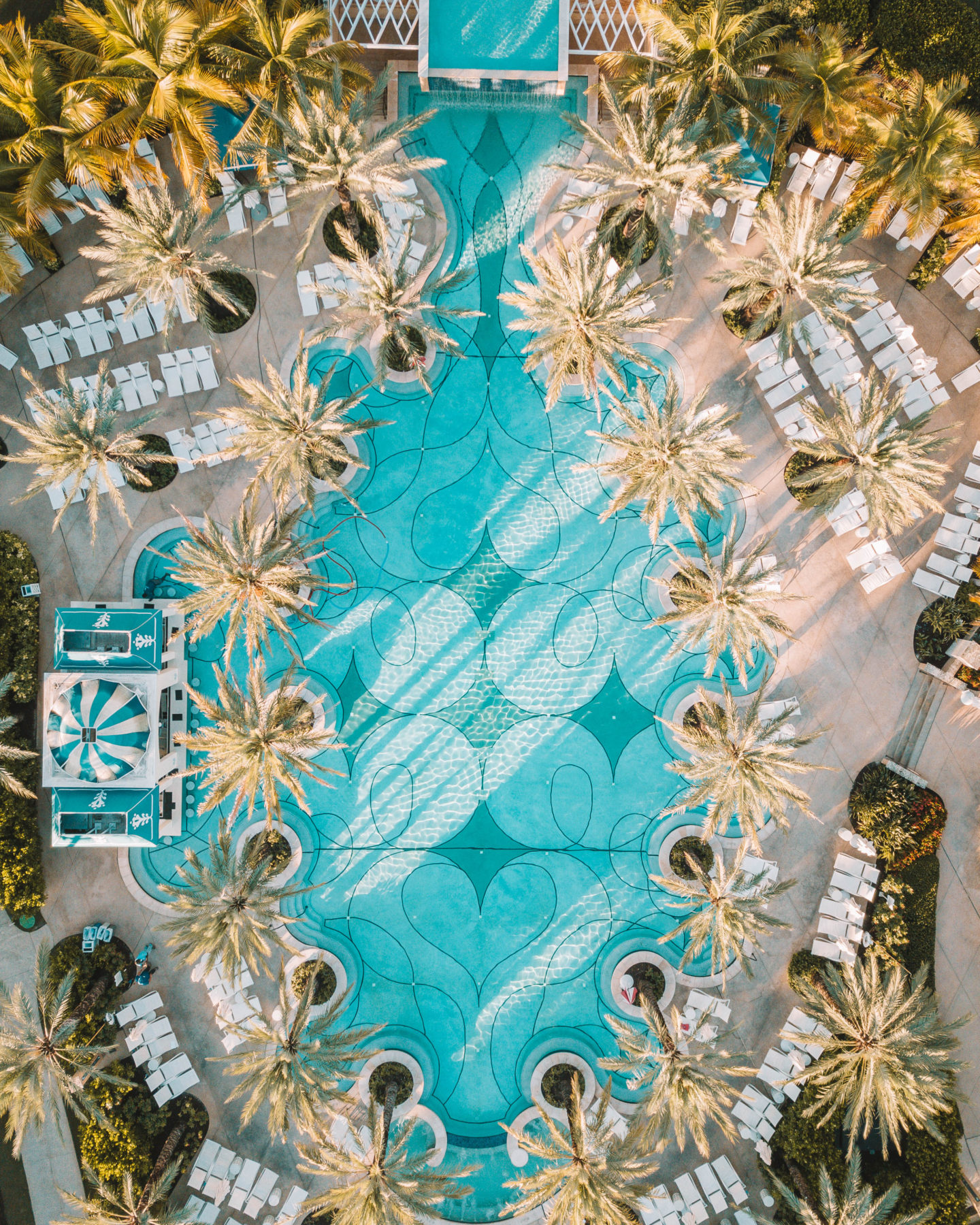 drone shot of resort pool in the bahamas