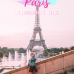 woman walking down stairs in front of the eiffel tower in paris france