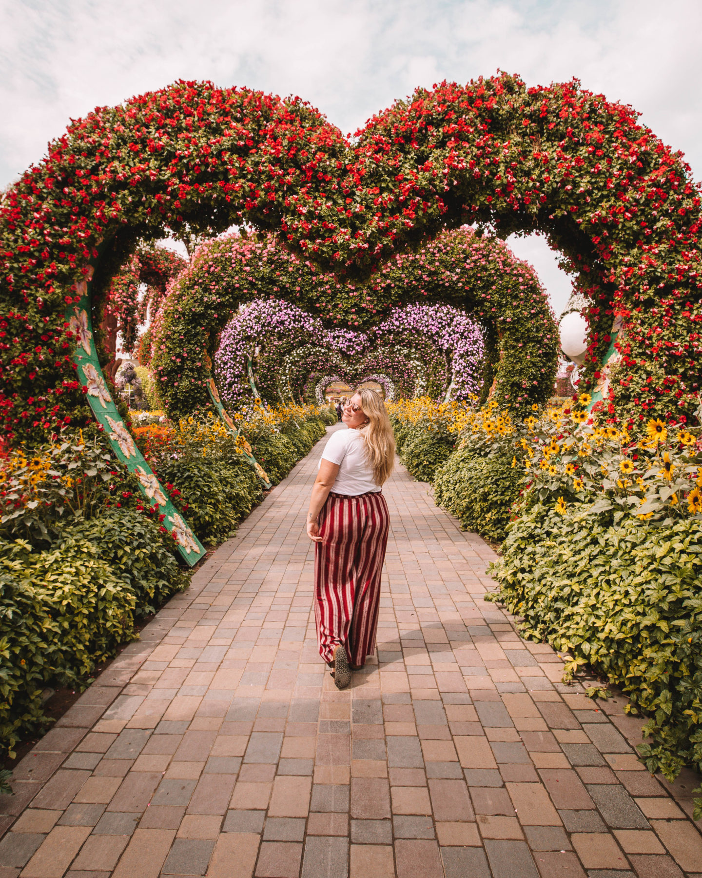 The Instagram famous heart walkway at the Miracle Garden in Dubai