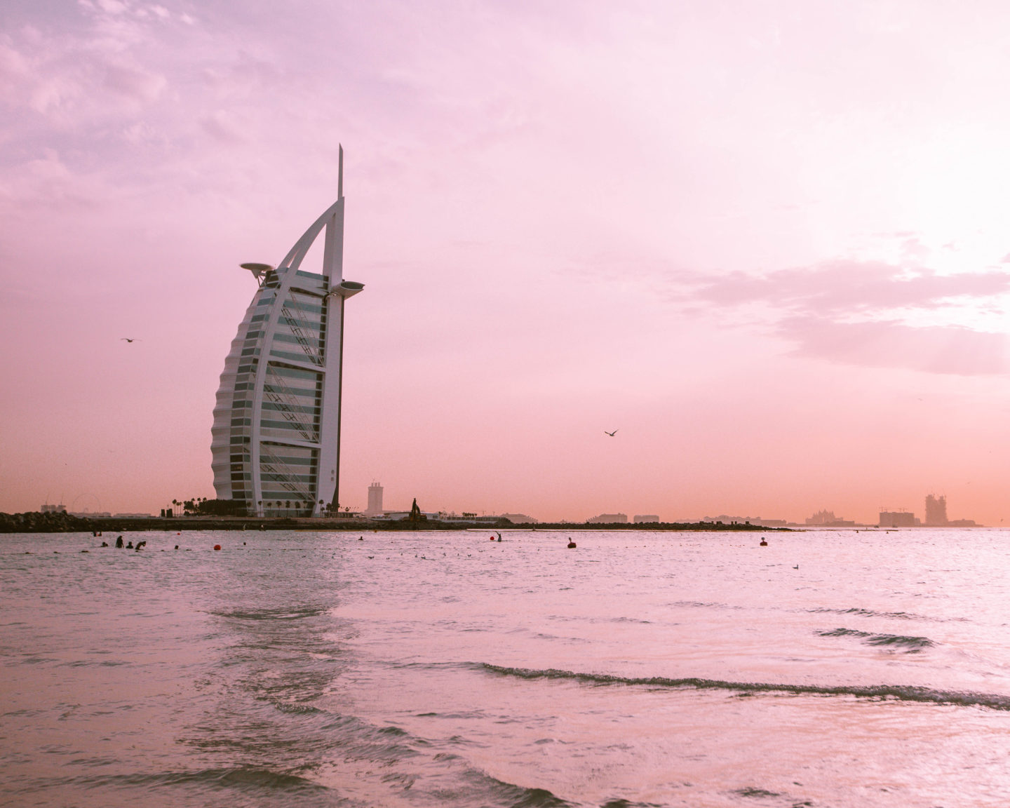 Sunset at Jumeirah Public Beach, with Burj al Arab in the background