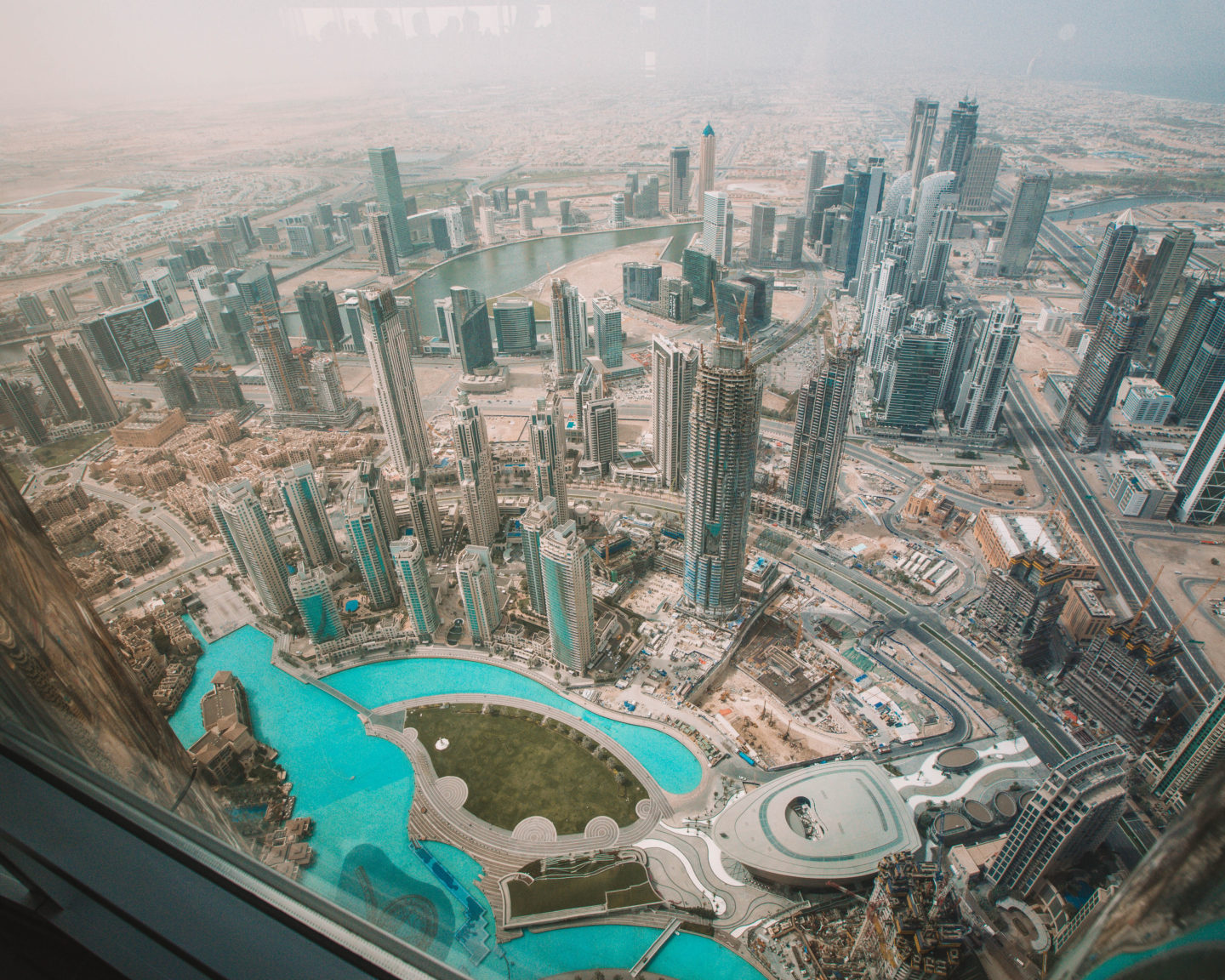 The view from the observation deck at the Burj Khalifa in Dubai