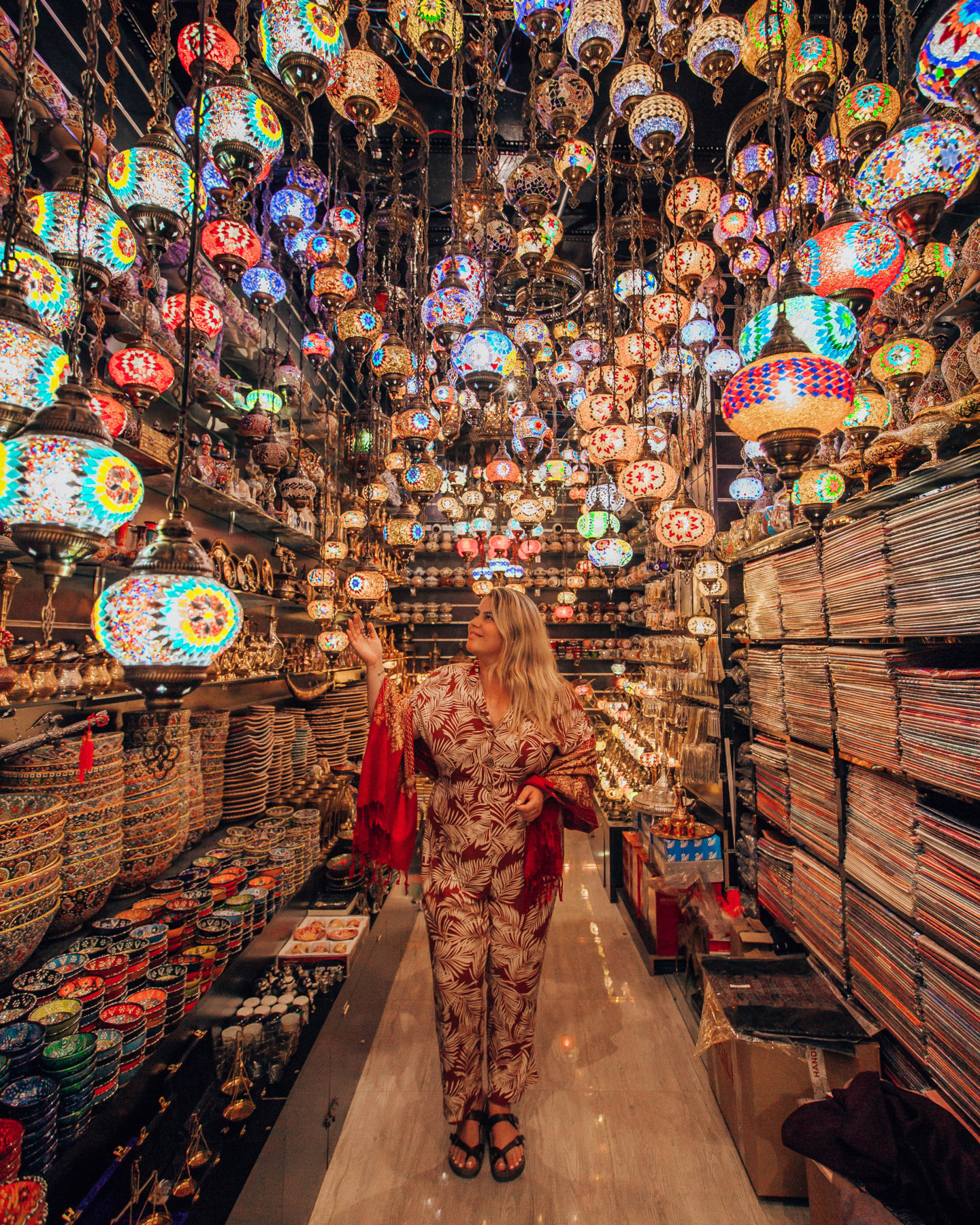 One of the lamp and pottery shops at the Spice Souk in Dubai