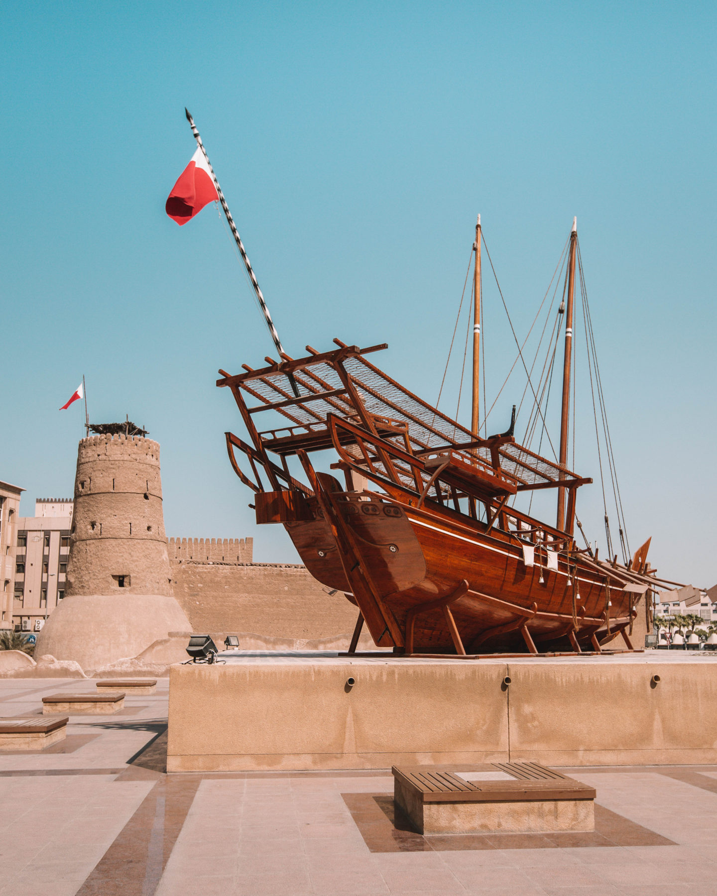 A traditional boat at the Dubai Museum