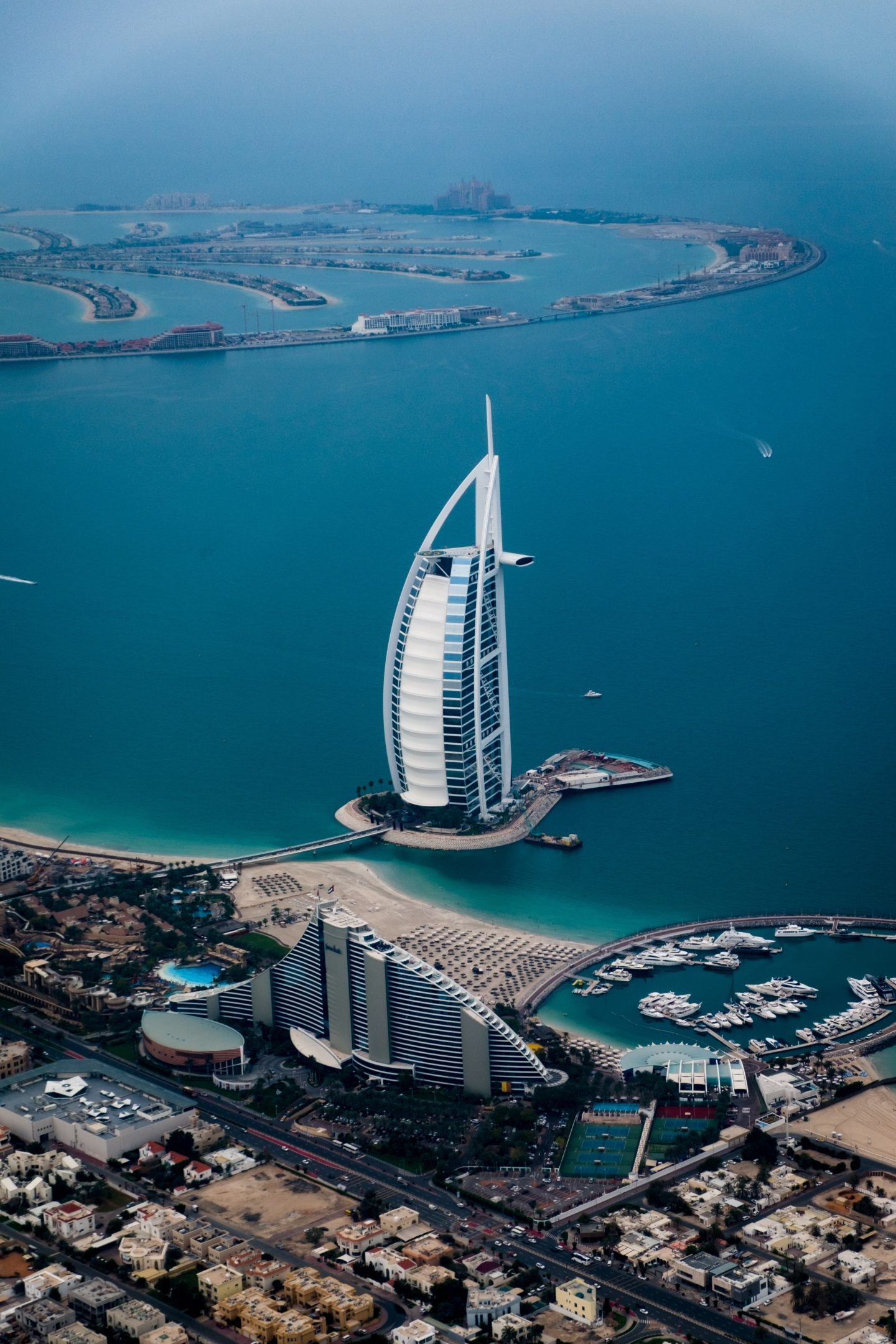 View of the Burj al Arab with the Palm Jumeirah in the background
