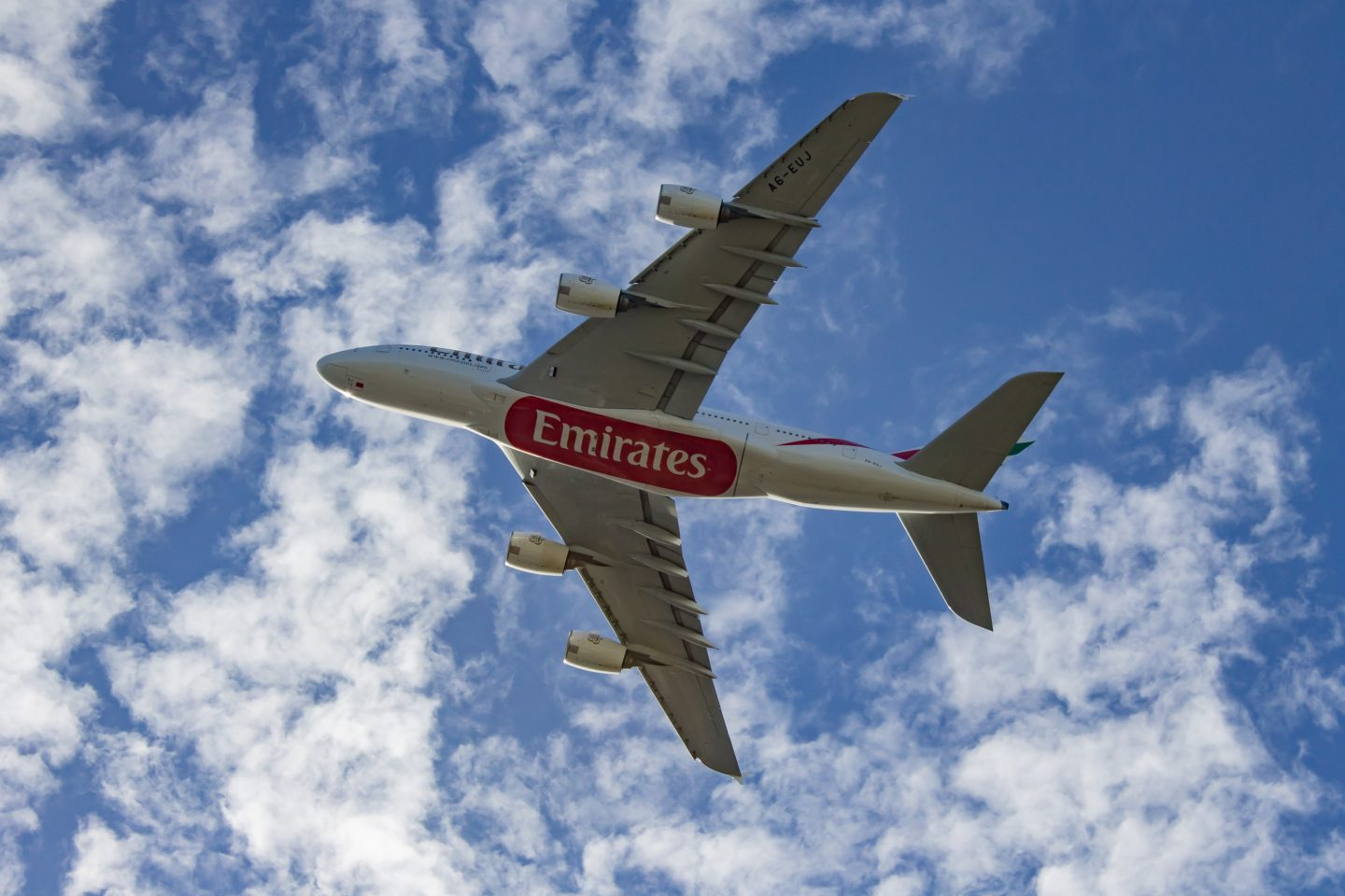 Emirates plane flying in the sky