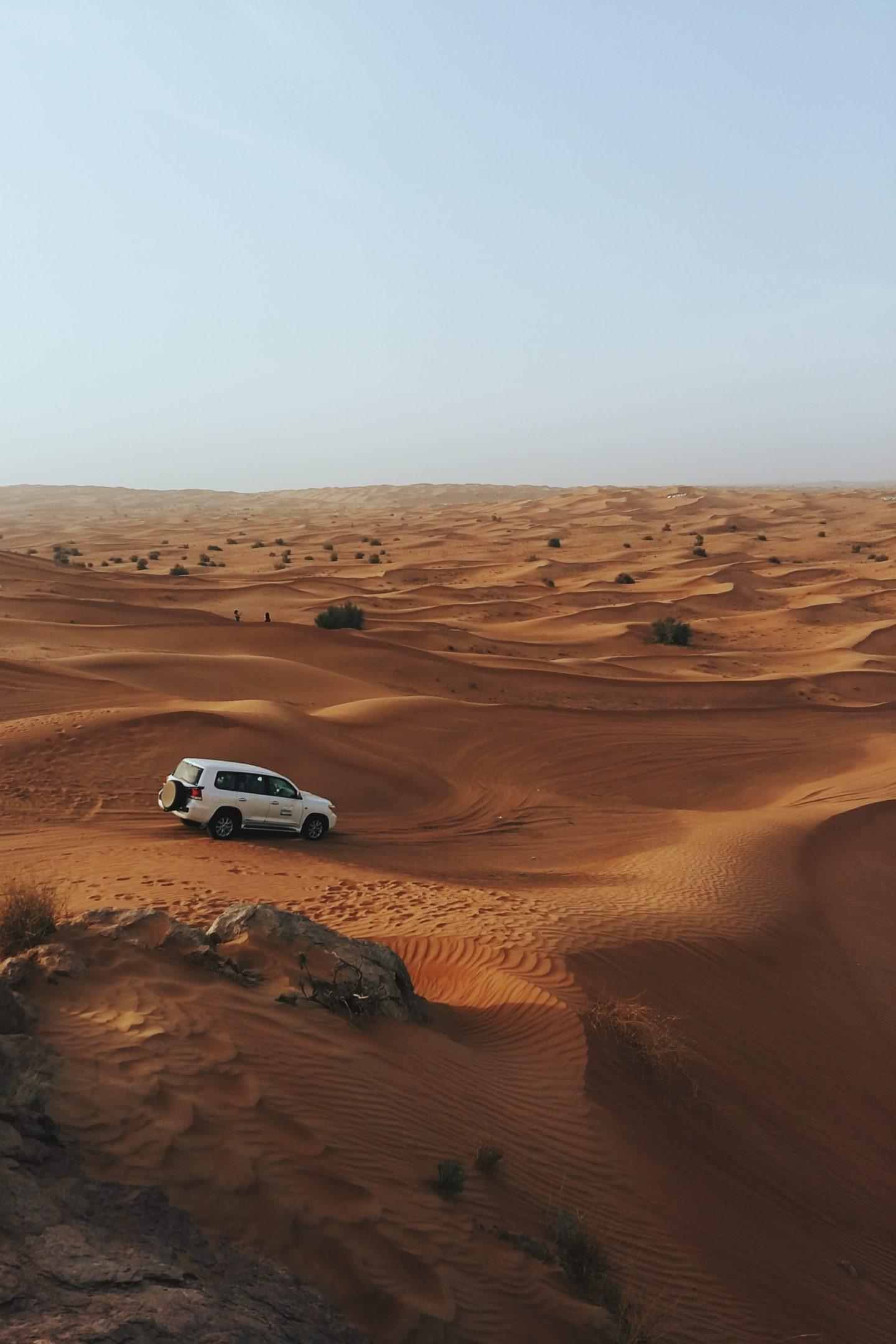 Dune bashing through the desert in Dubai