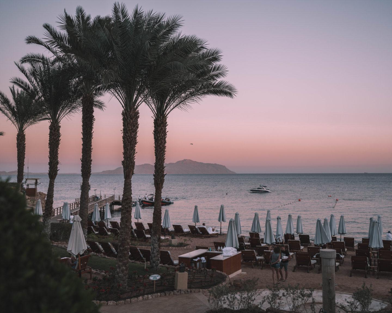 sunset view of tiran island at Four Seasons Sharm El Sheikh
