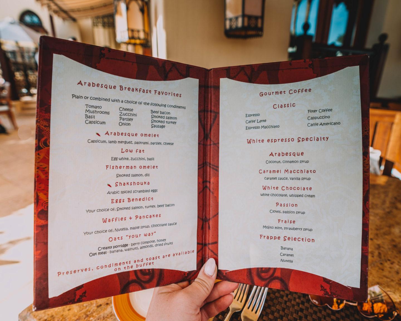 made to order breakfast menu at Four Seasons Sharm El Sheikh