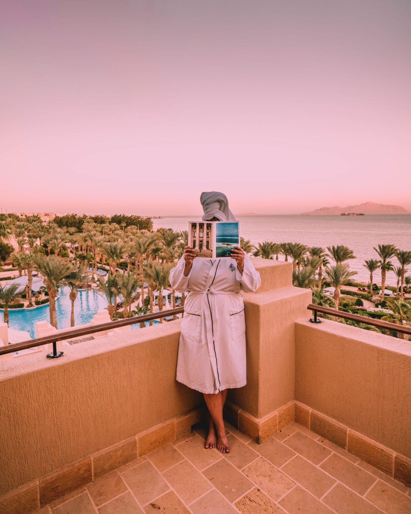 Four Seasons Sharm El Sheikh balcony with views of tiran island at sunset