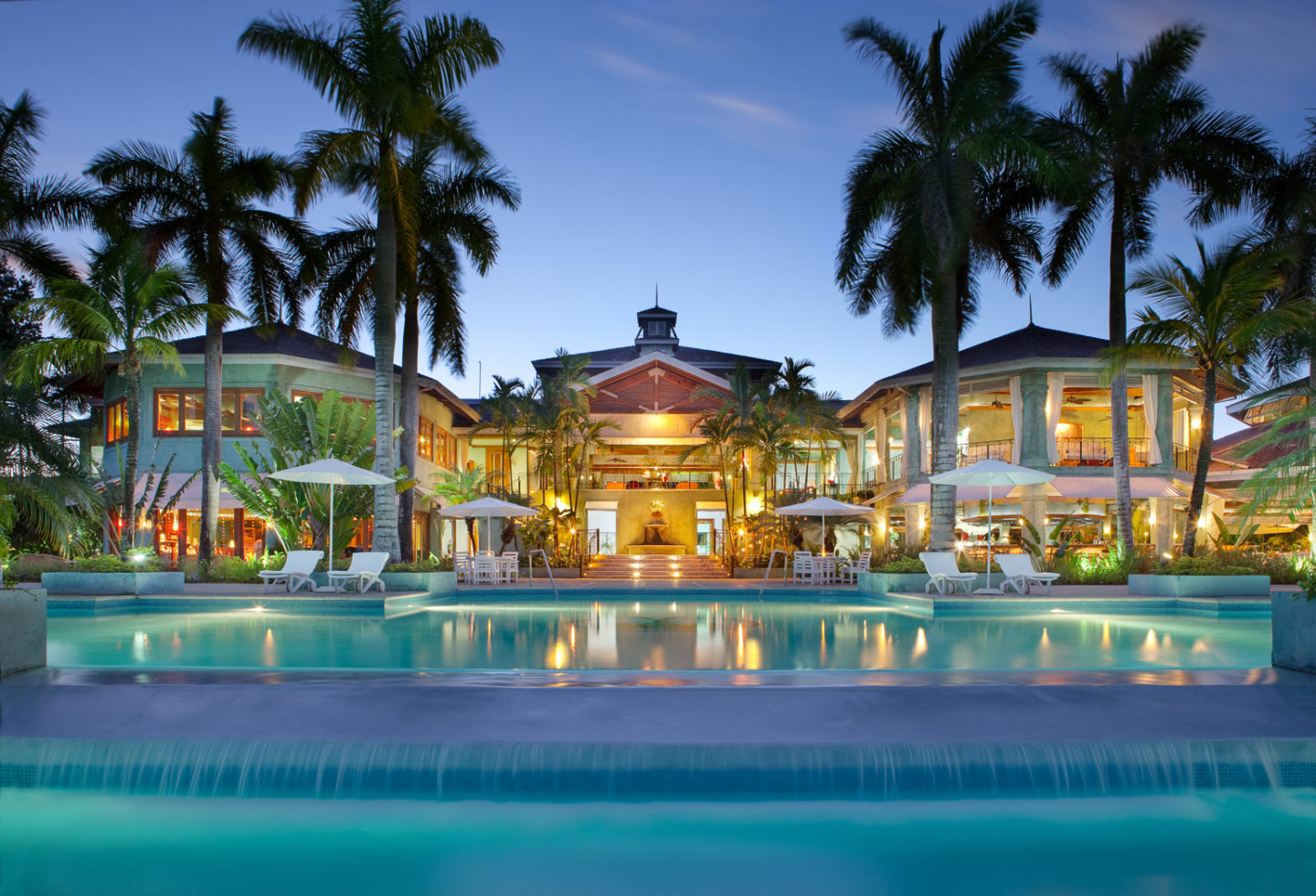 night time pool and resort view couples negril jamaica