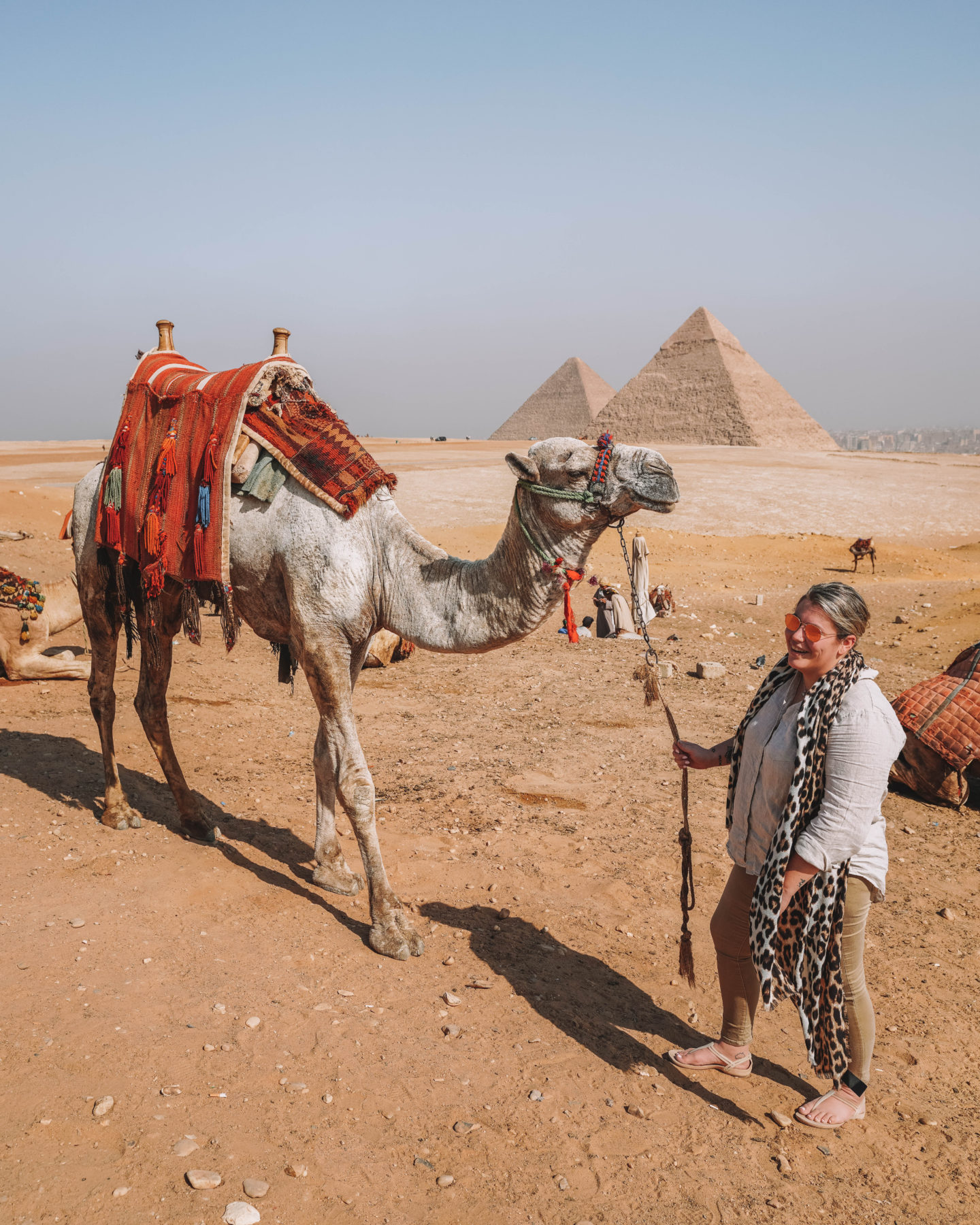 standing with pyramids in the distance next to a camel friend | egypt itinerary