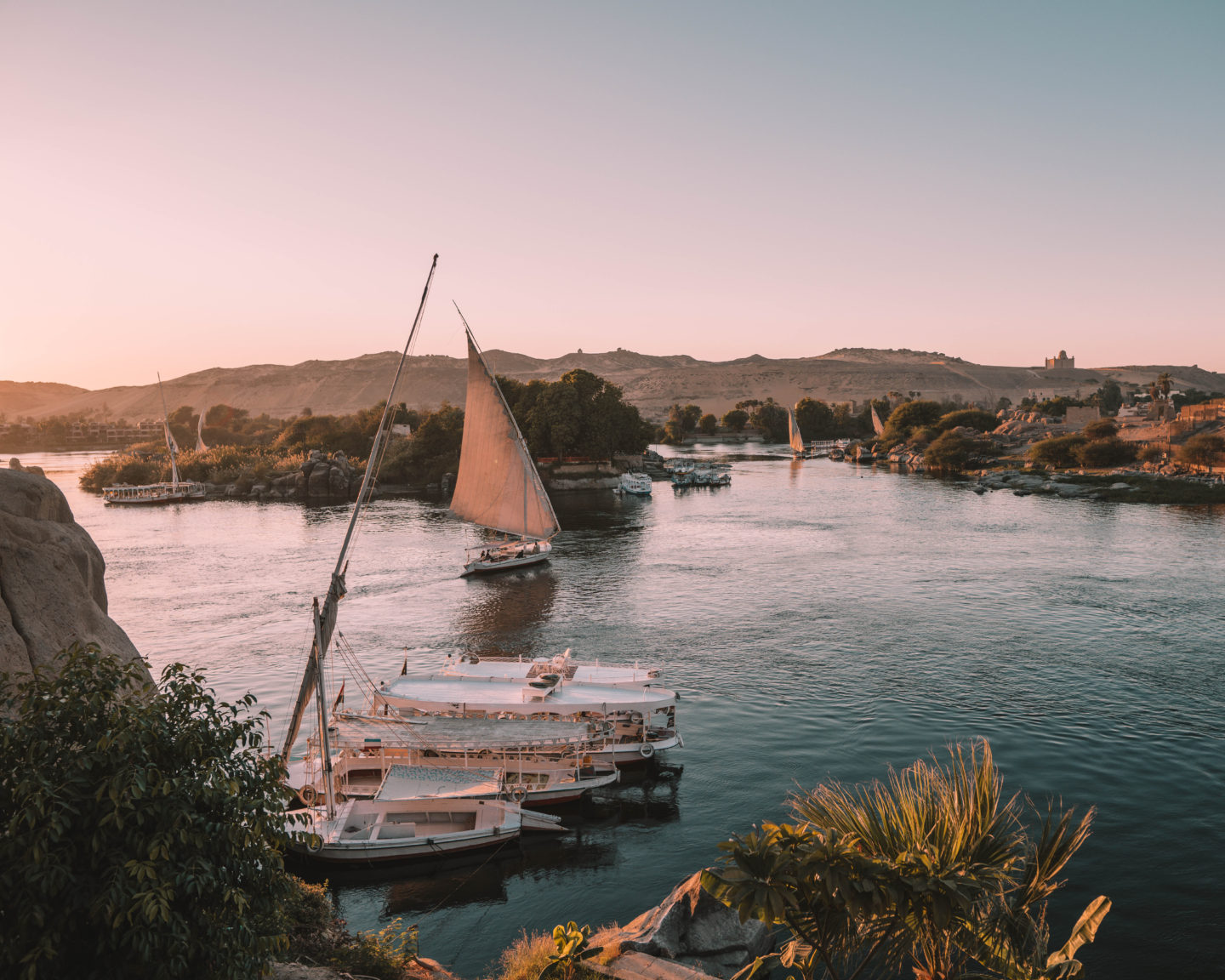 sunset over the nile in aswan with felucca | egypt itinerary