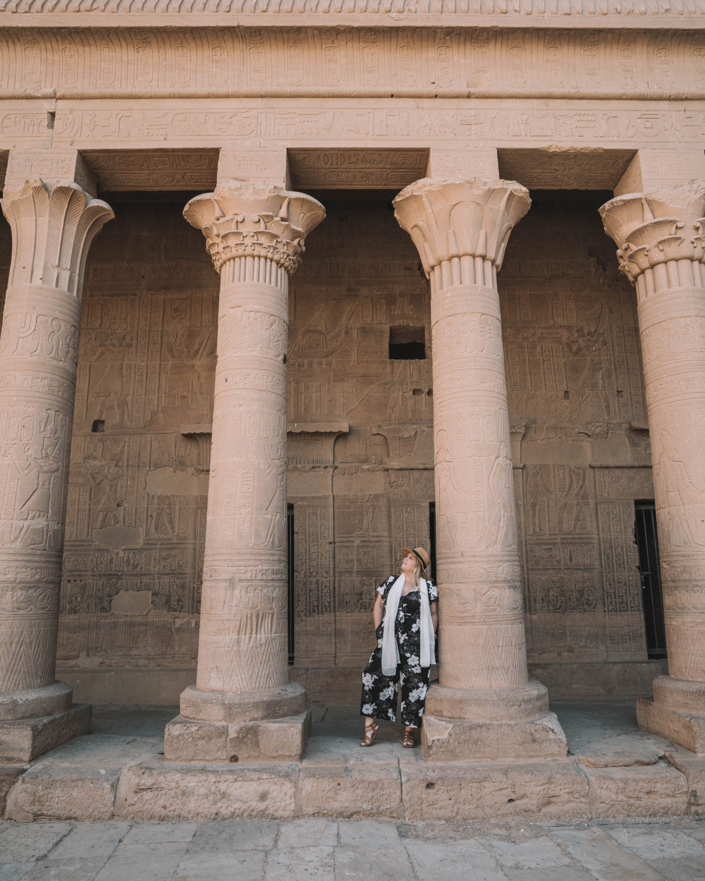standing in philae temple | egypt itinerary