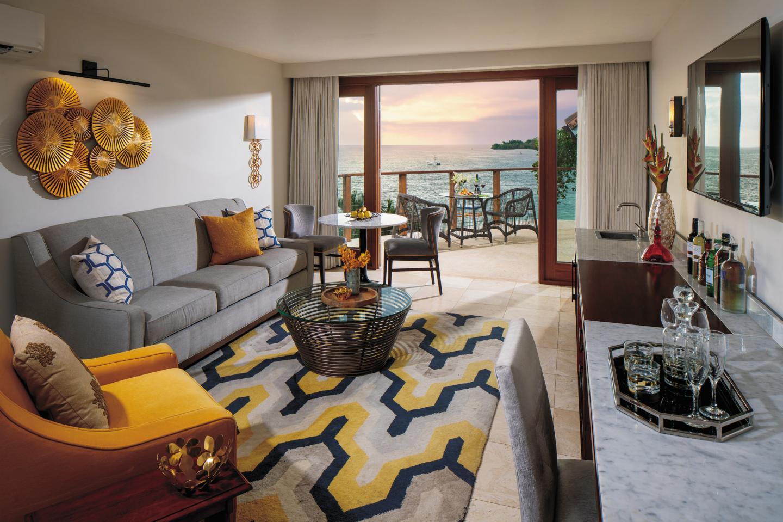 inside beachfront suite at sandals negril jamaica
