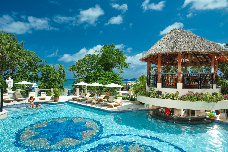 pool area at sandals ochi ocho rios jamaica