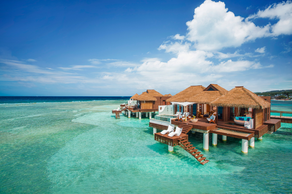 view of overwater villas at sandals royal caribbean