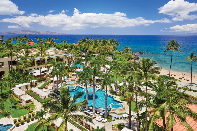 four seasons maui aerial shot of resort grounds