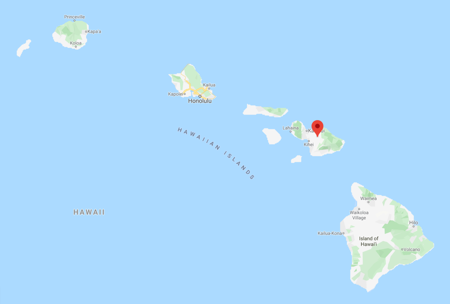map of hawaii with maui marked with a pin