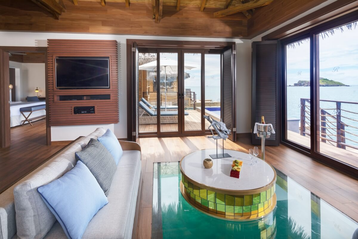 interior living room overwater bungalow at royalton antigua best overwater bungalows in the caribbean
