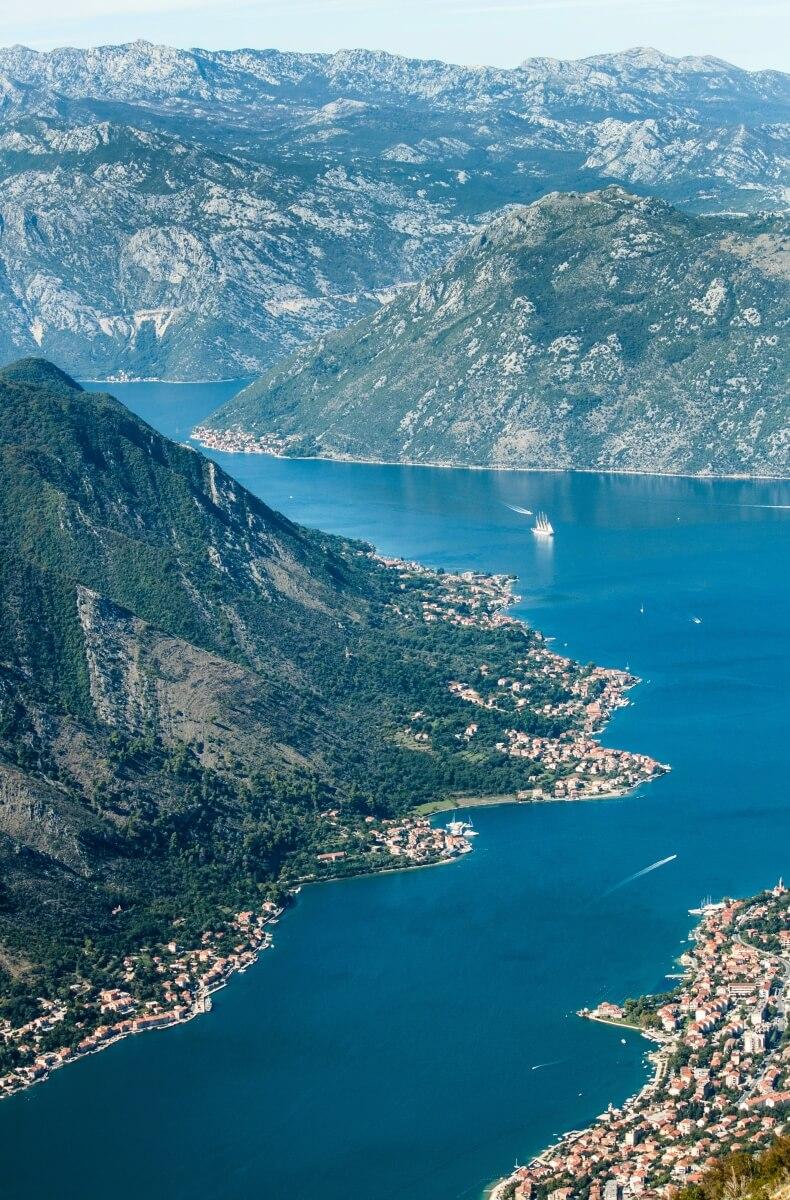 aerial shot of montenegro coast