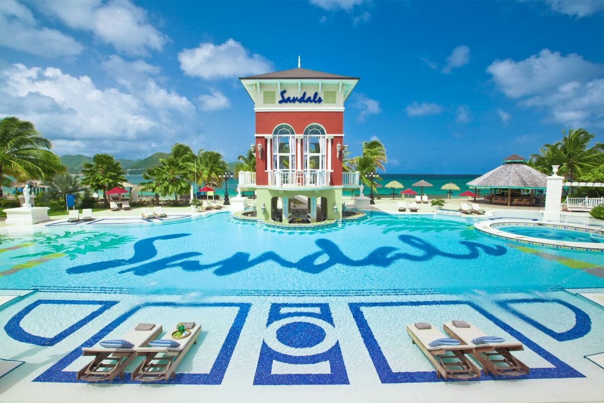 pool at sandals grande st lucian best overwater bungalows in the caribbean