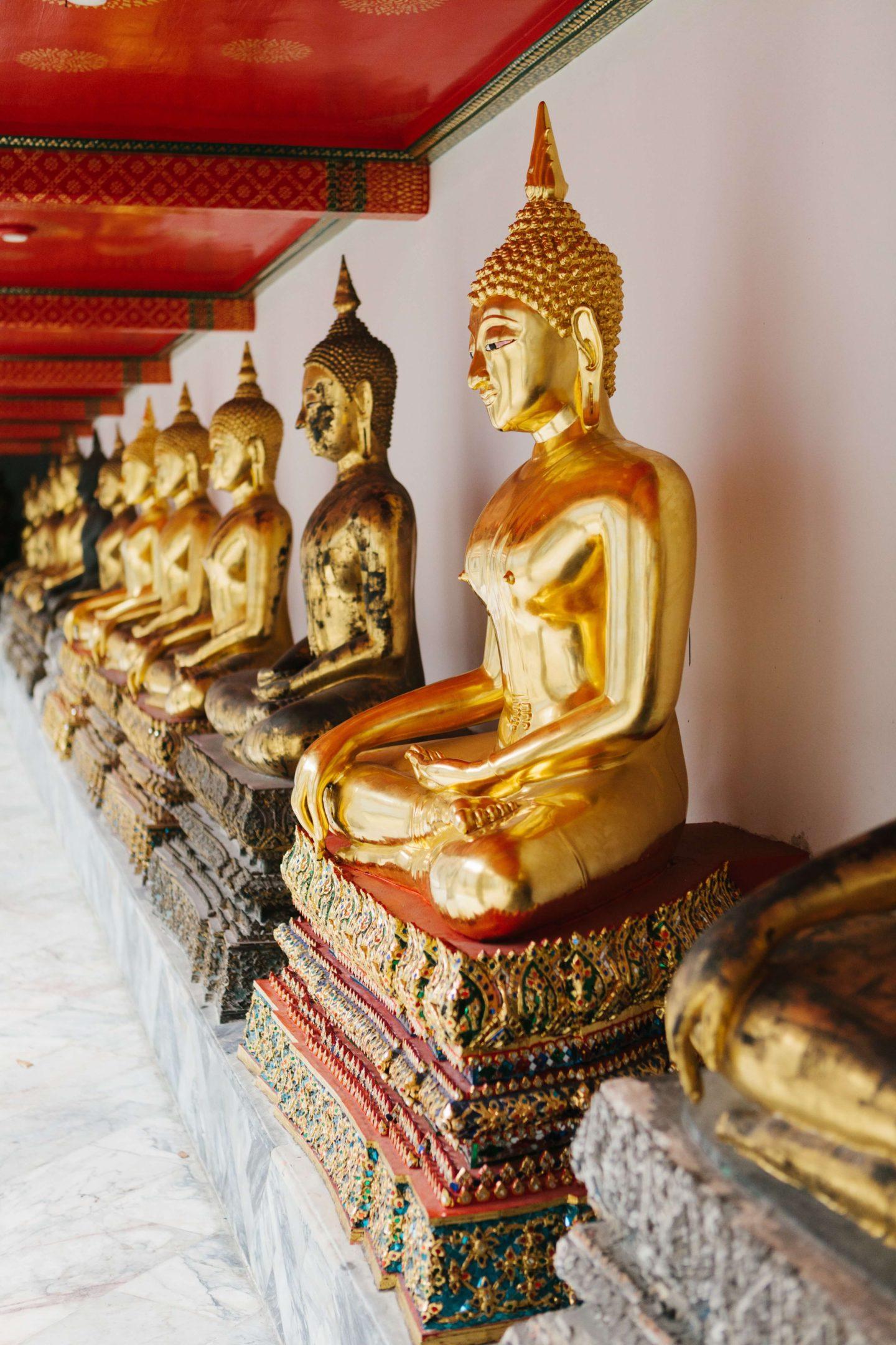 10 day thailand itinerary - budda statues at temple in bangkok