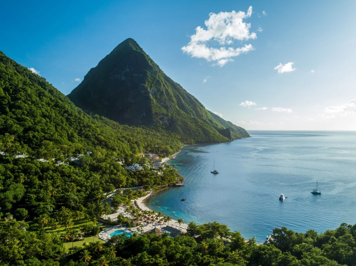 aerial view of sugar beach viceroy with a view of the pitons best all inclusive resorts in st lucia