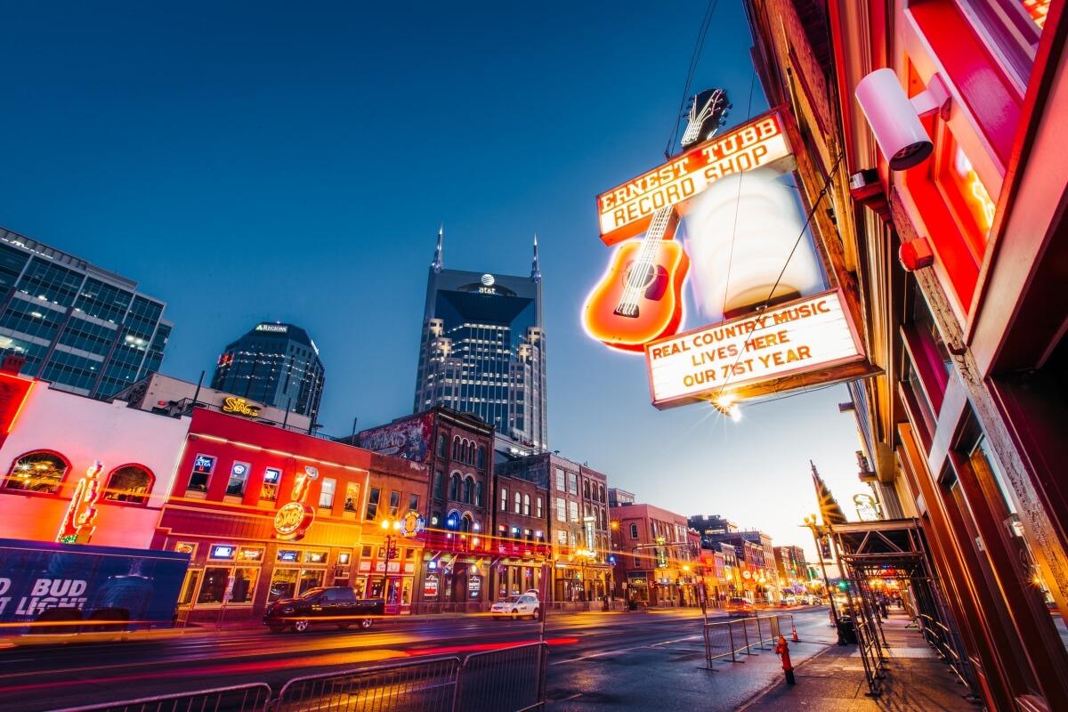 Broadway lit up at night Nashville itinerary