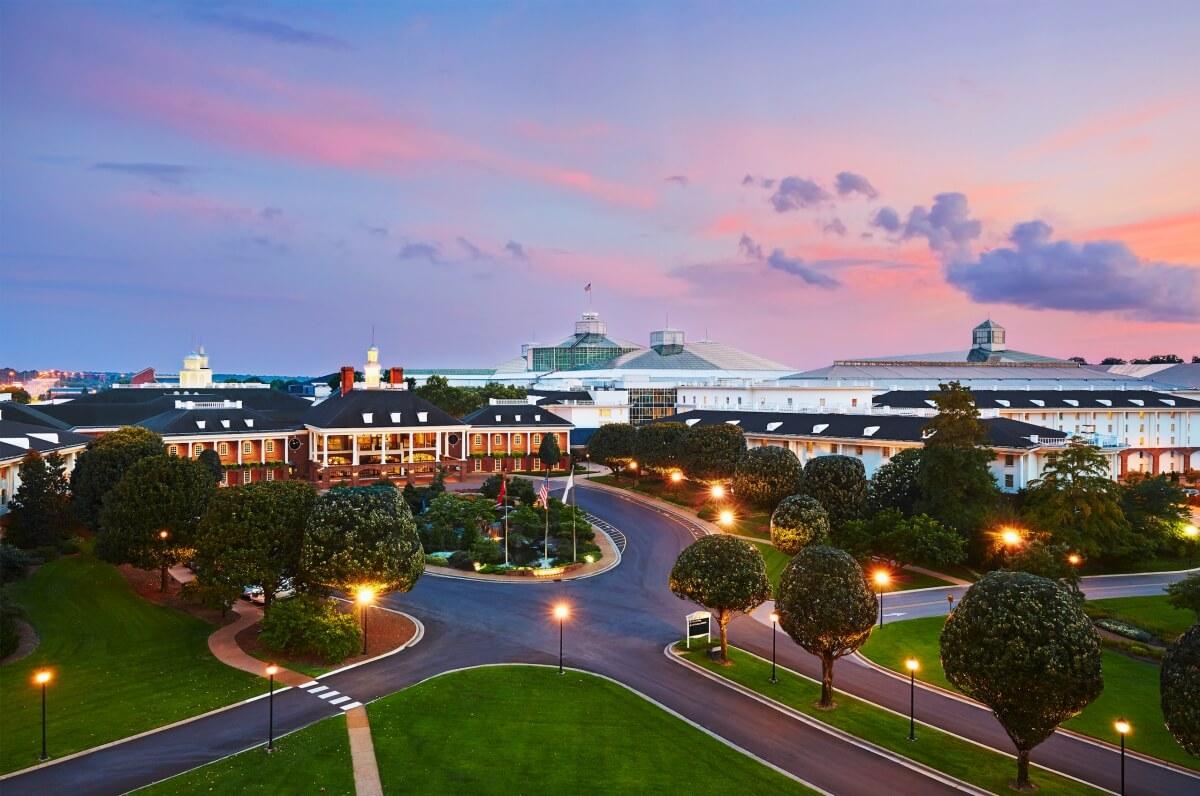 Gaylord Opryland hotel exterior at sunset Nashville itinerary