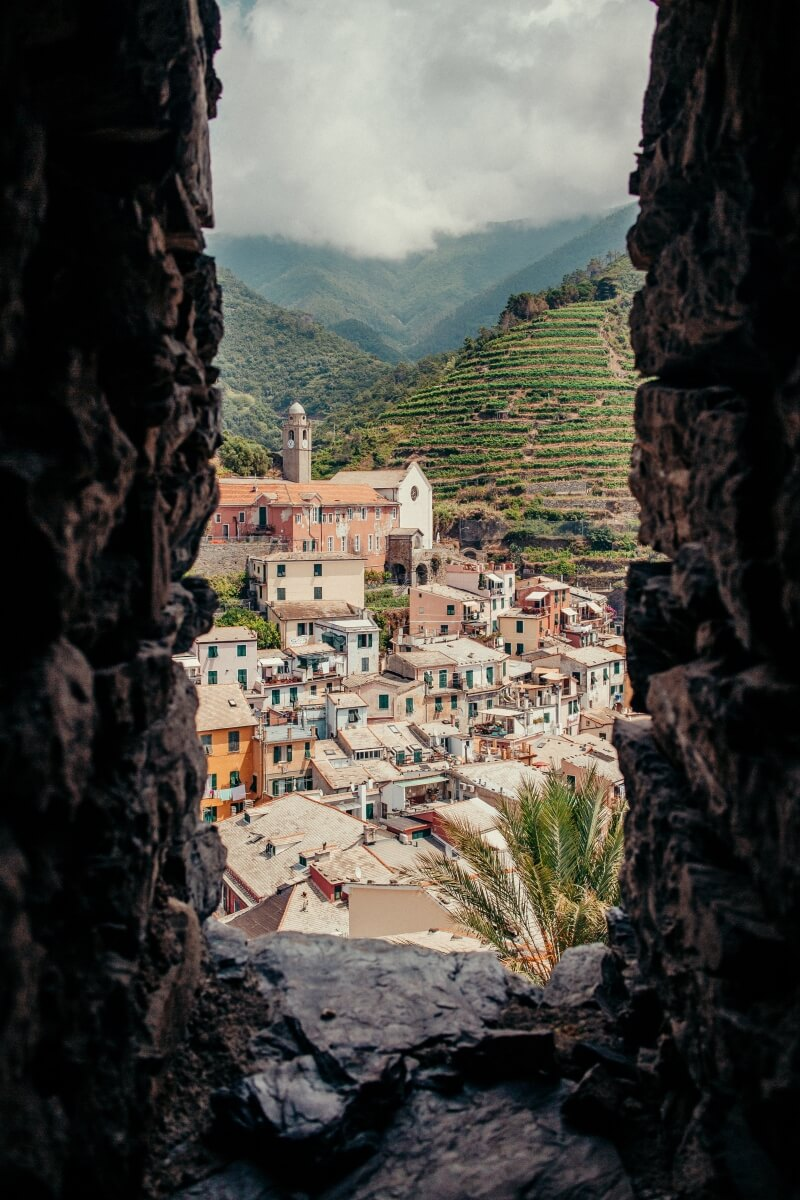 cinque terre with a frame italy