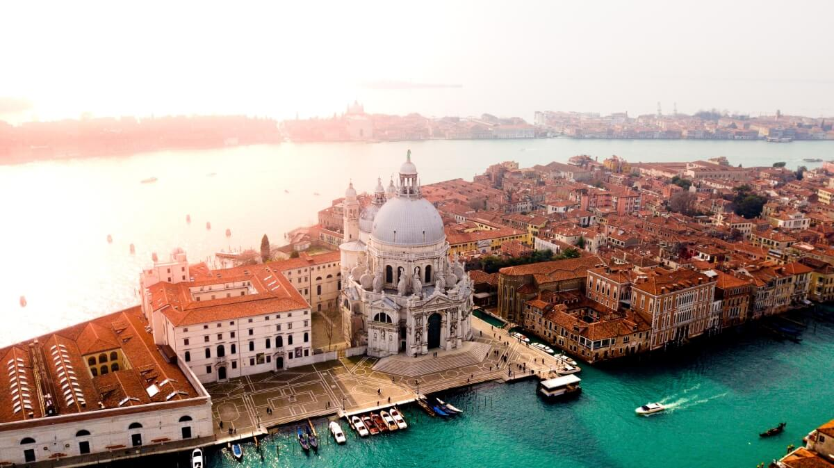 aerial photo of venice and canal in italy