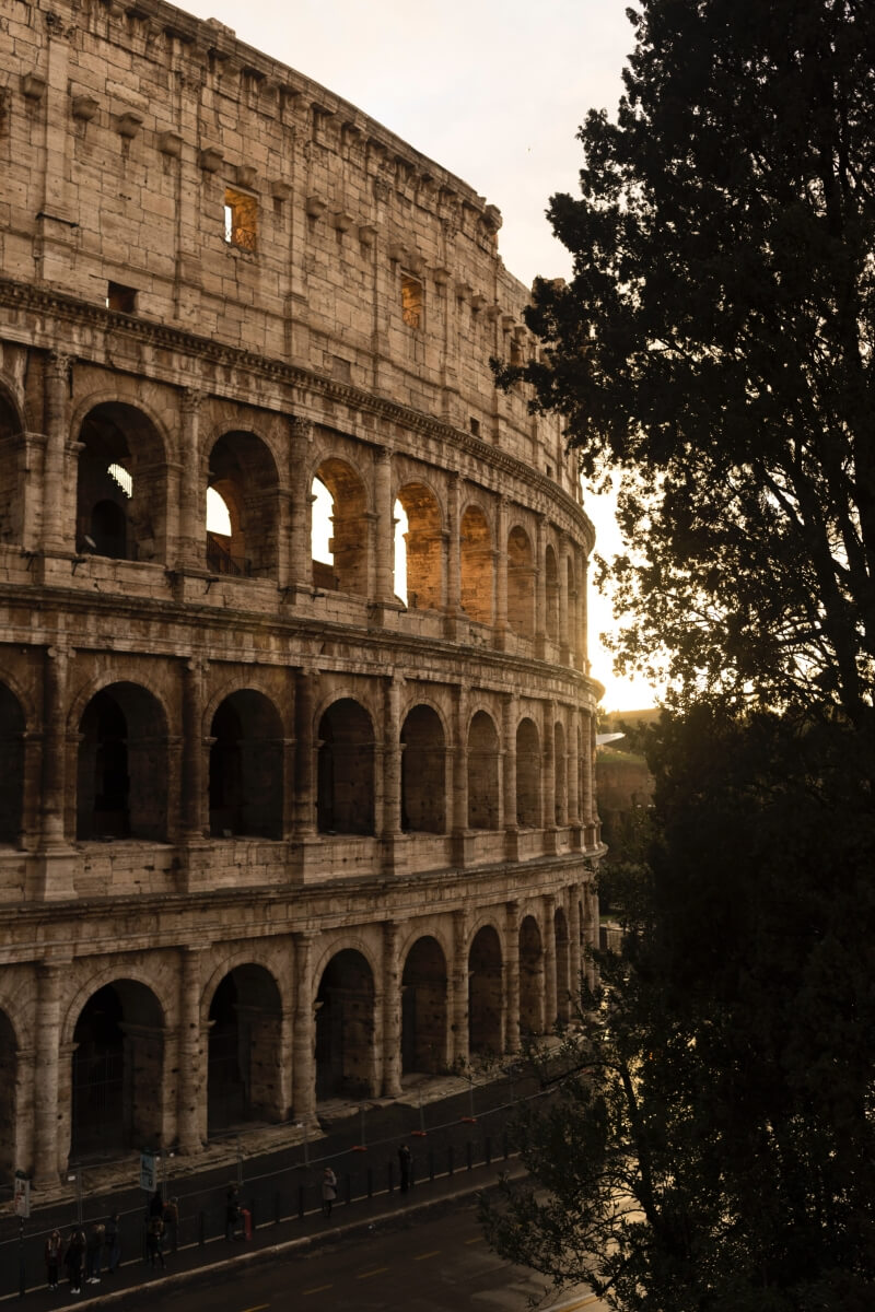 colosseum at sunset with soft light rome italy