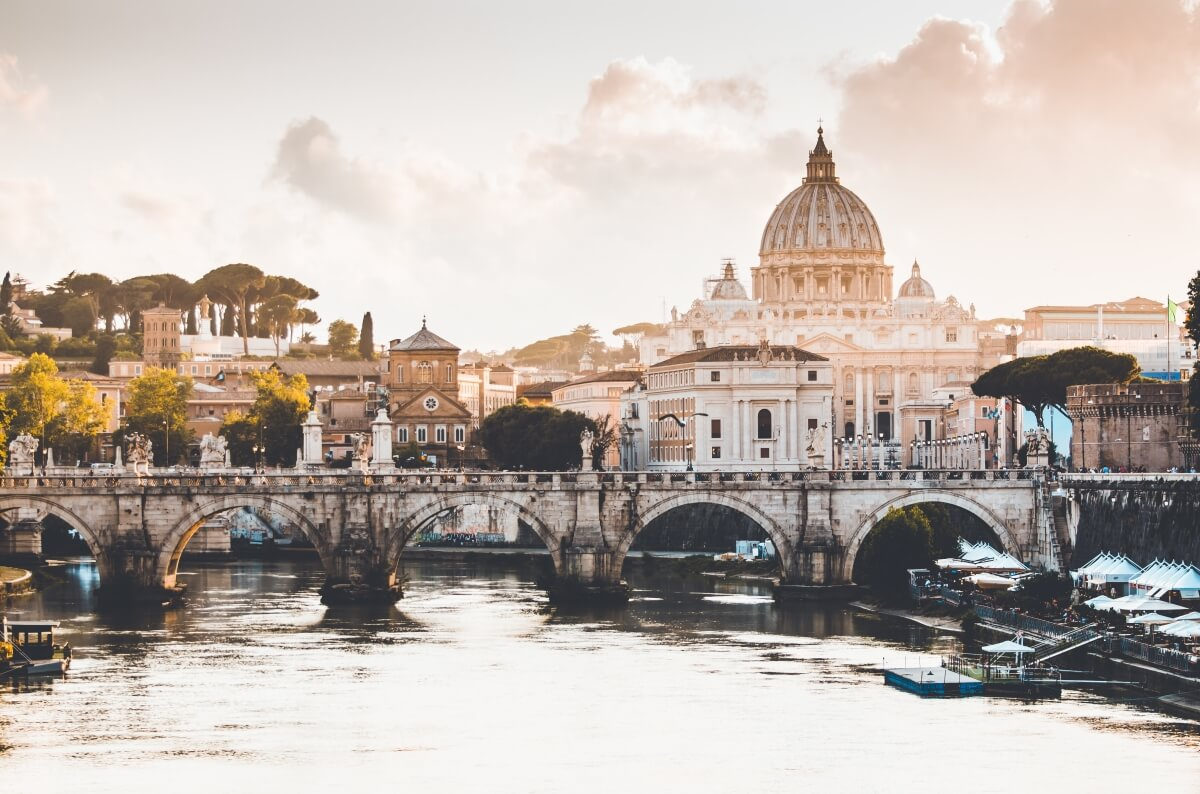 view of vatican from the river in rome