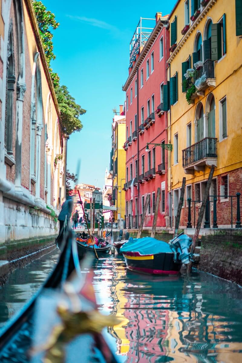 view of colorful venice from a gondola in italy 10 days in italy
