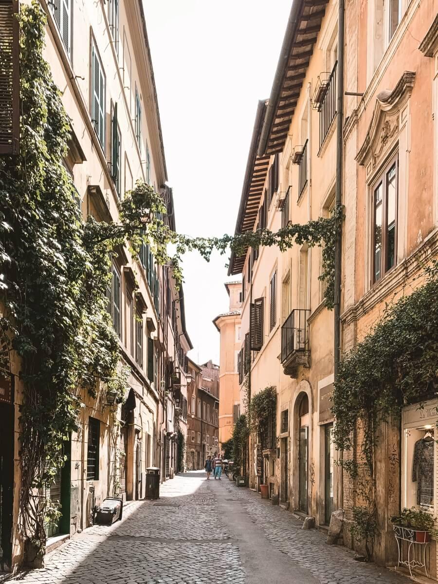 quiet rome street in italy