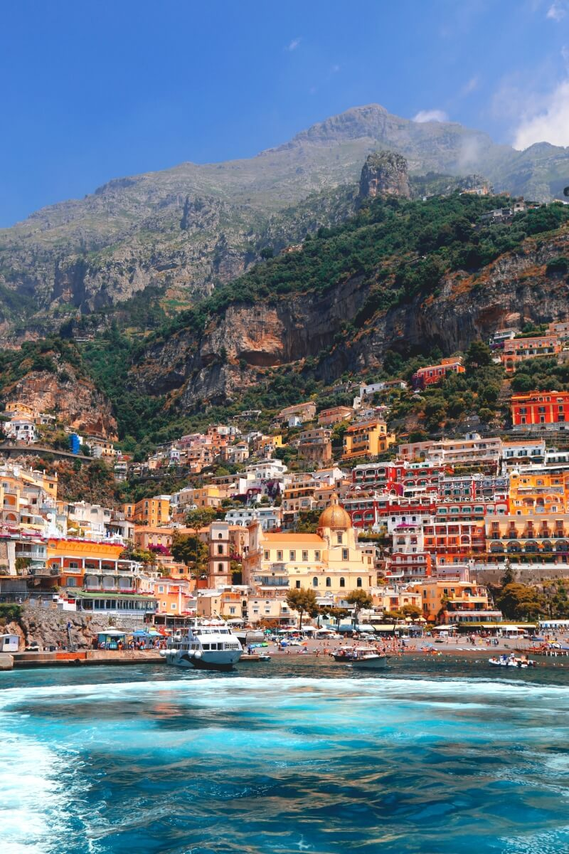 view of colorful positano from the water 10 days in italy itinerary