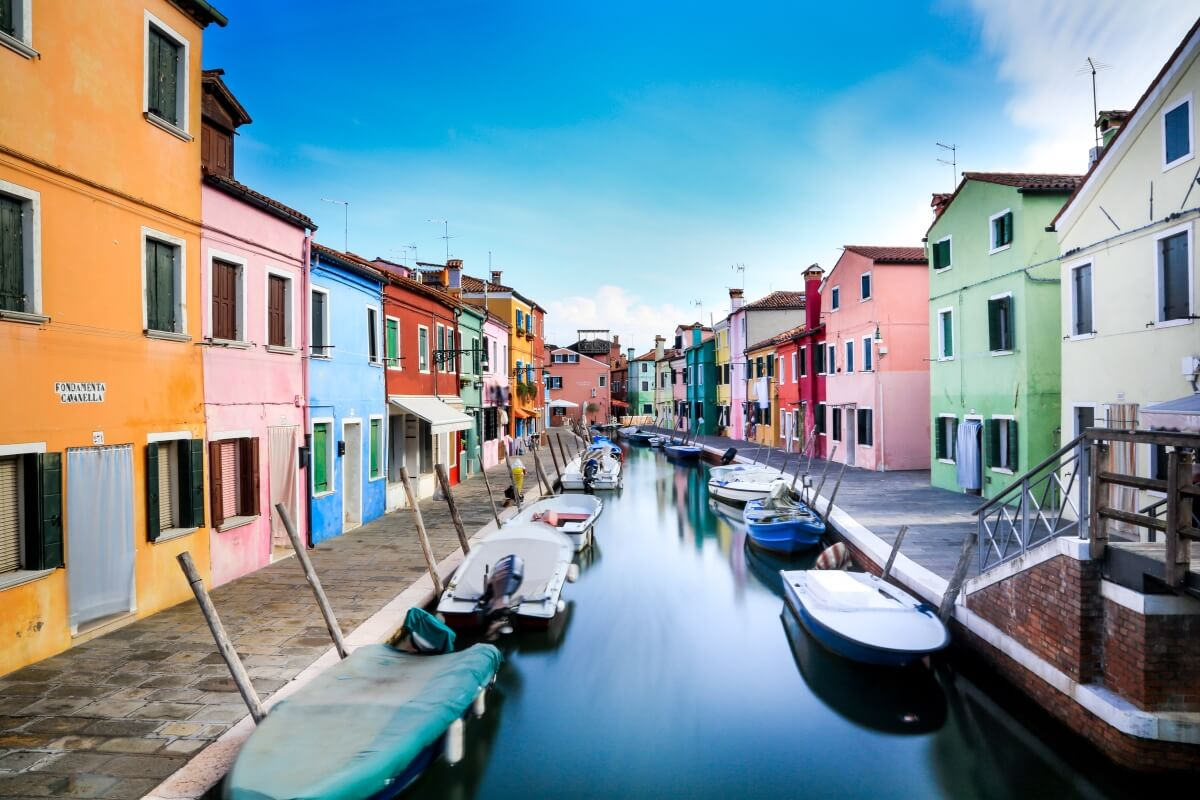 colorful streets of burano outside of venice italy