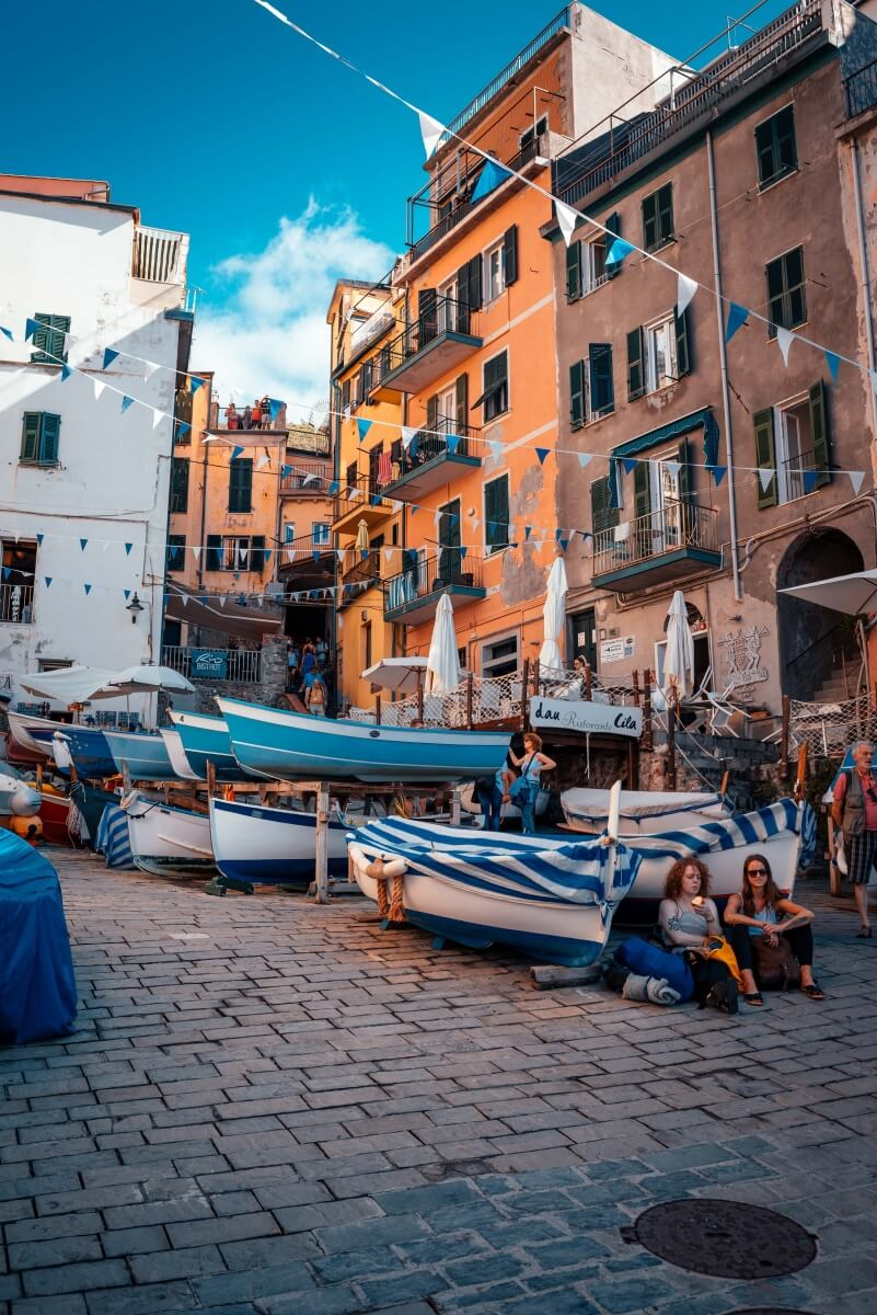 people watching in the streets of cinque terre italy