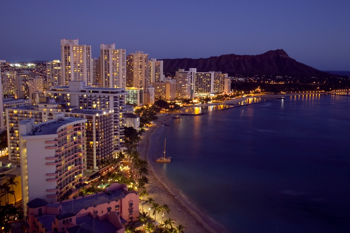 view of the waikiki beach and strip at night day trip from maui to oahu