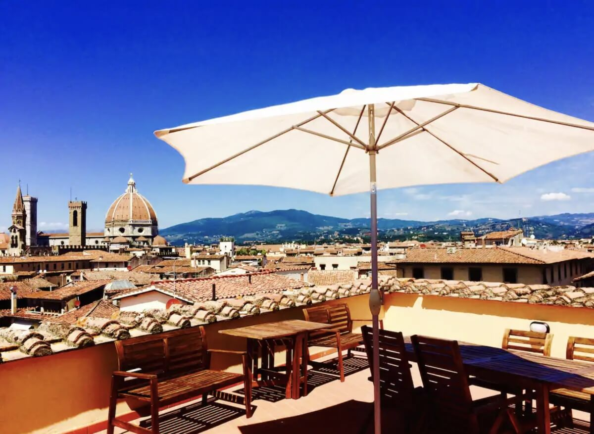 balcony at Airbnb with incredible views of Florence, including the Duomo