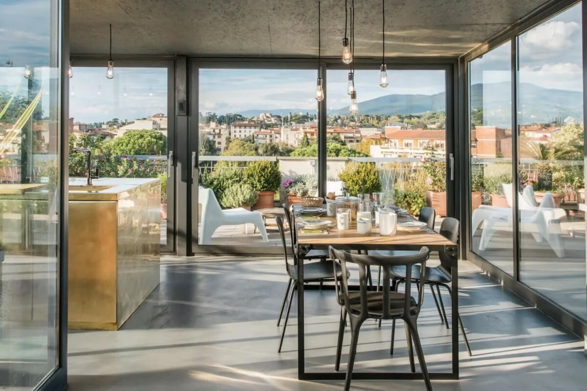 Best Airbnbs in Florence Italy floor to ceiling windows with stellar views