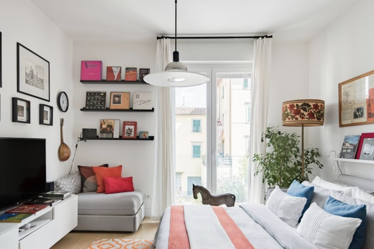 light and airy interior at flat in Florence, Italy