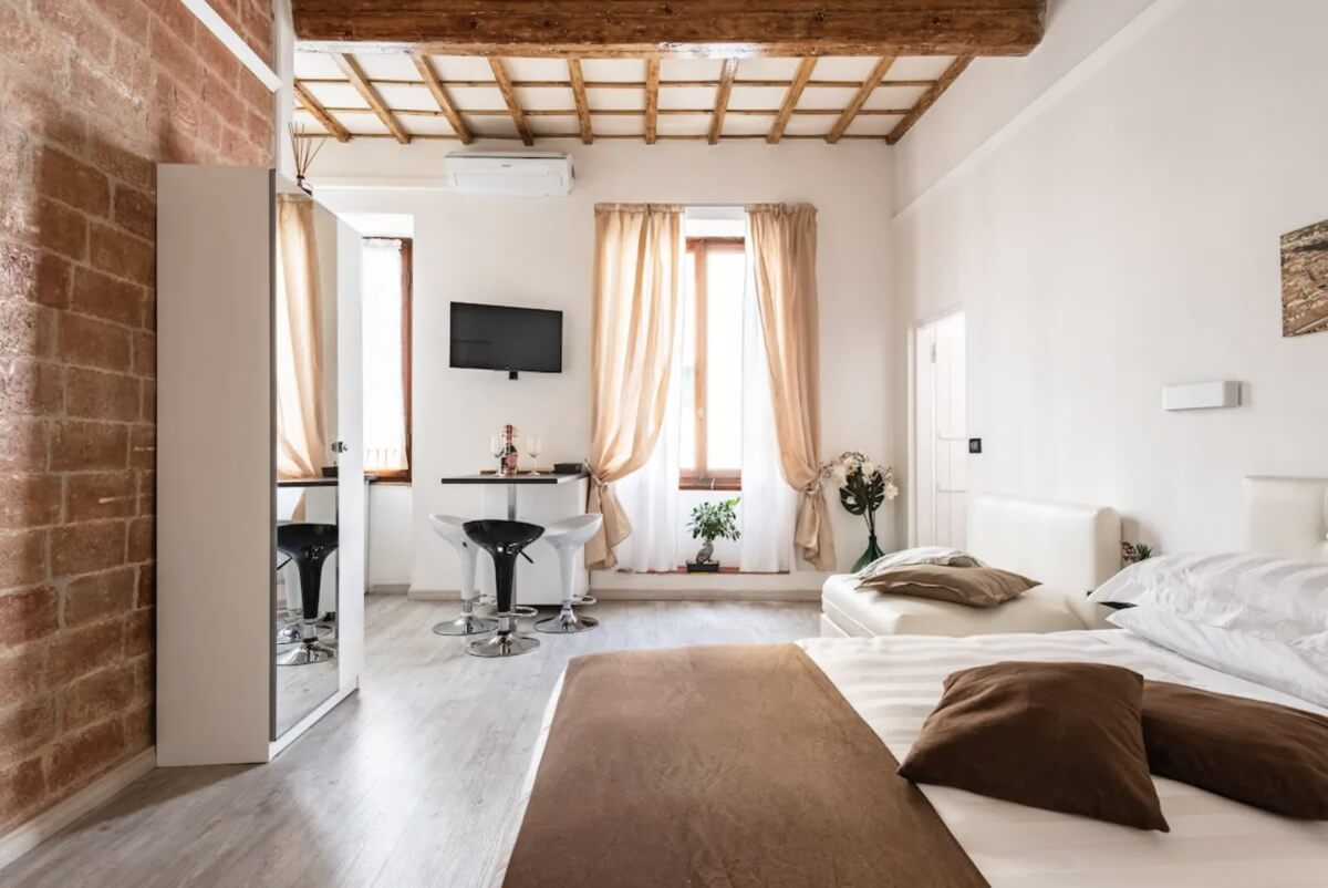 muted earthy interiors at airbnb in Florence, Italy
