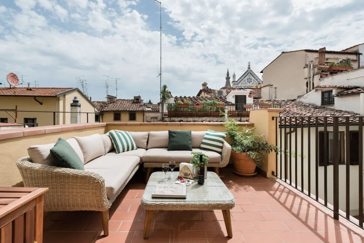 terrace at apartment in Florence Italy
