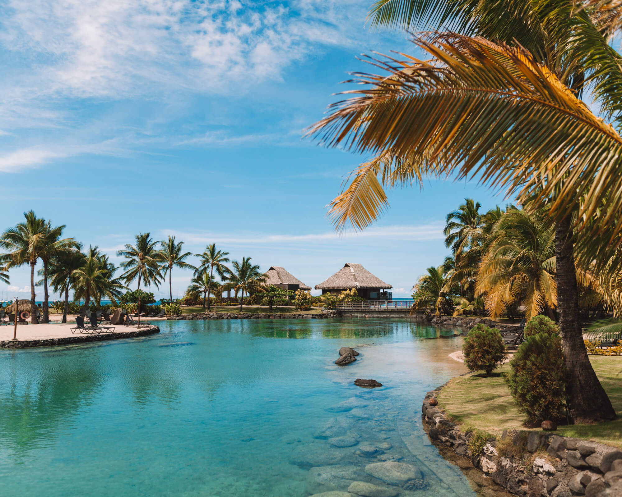 lush and tropical view of the lagoonarium at the intercontinental tahiti