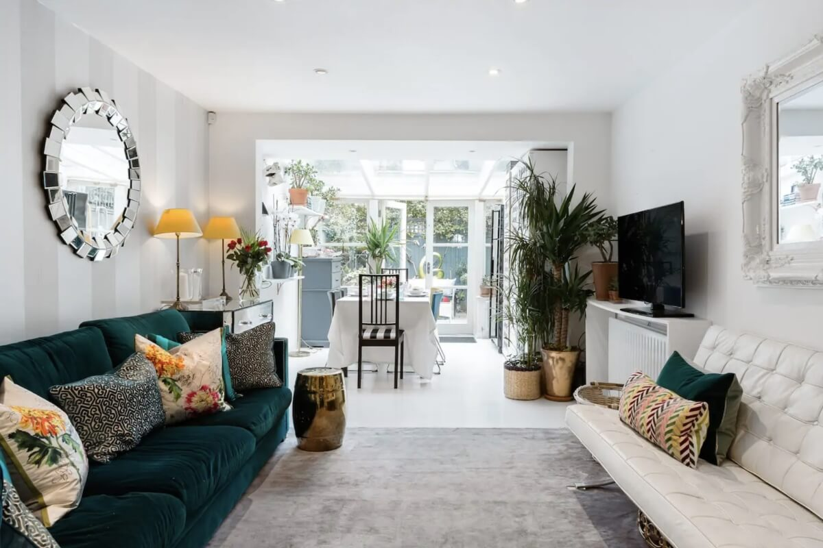 charming airbnbs in london with emerald and yellow accents