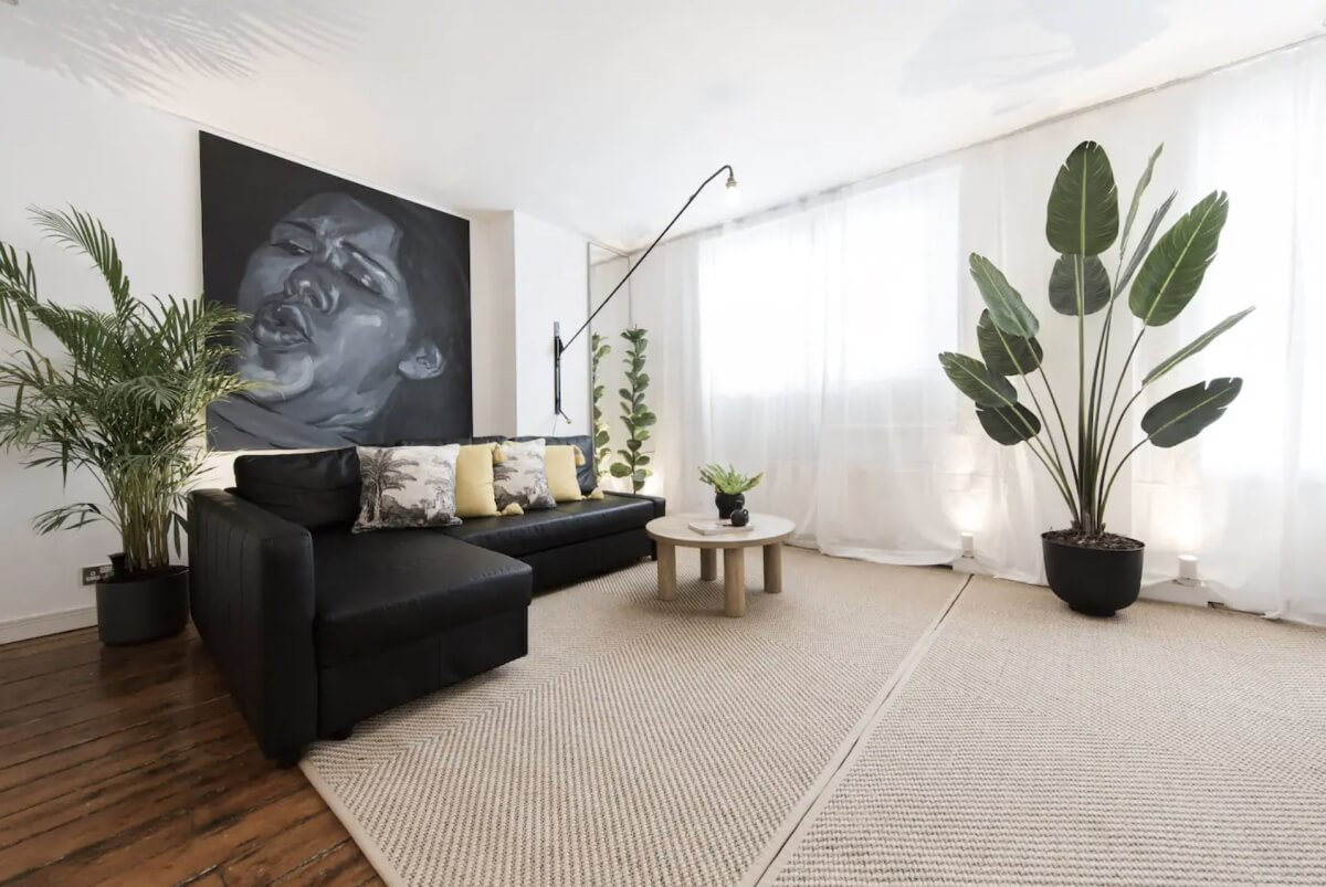 minimalistic london airbnb filled with plants and contrasting furniture
