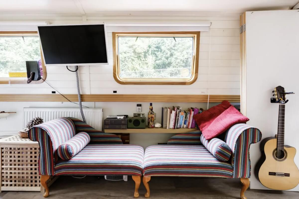 interior of houseboat listed on airbnbs in london